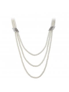 10759A CREAM TRIPLE STRAND PEARL NECKLACE WITH DIAMONTE SIDE BARS Please Click the image for more information.
