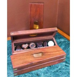 Timber Pencil Box - 6piece $30.00 Solid timber box containing six chocolates  Box can be used as glasses case for pencils etc or you can bring it instore and have it refilledEach . Please Click the image for more information.