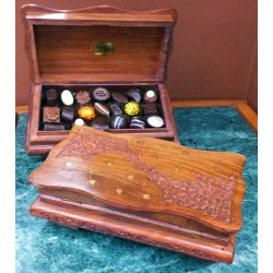 Timber Carved Trick Lock Box - 20pc $89.00 Solid timber box handcarved with brass inlay containing approximately twenty chocolates  Box has a trick lock mechanism  I. Please Click the image for more information.