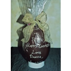 Personalised hollow milk chocolate egg 215mm $39.00 Please note Last orders for personalised eggs needs to be received 8days before the public holiday on Good Friday . Please Click the image for more information.