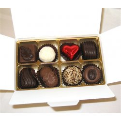 White gift box - 8 chocolates-1 Red foiled heart $17.50 Contains 8 chocolates of your choice see The Menu or a ready made assortment including one redfoiled heart Ple. Please Click the image for more information.