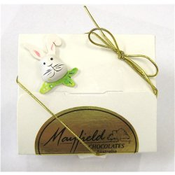 White Easter gift box - 4 chocolates $9.50 PLEASE NOTE EASTER ITEMS ARE SUBJECT TO AVAILABILITY  ORDERING EARLY IS ADVISABLEContains 4 chocolates  a ready made Easter assortment in an Easter decorated white boxEach box contains a menu. Please Click the image for more information.