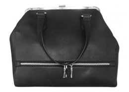 Hand Bag Black Quality clip opening PU hand bag with outside front zip compartment Inside zip compartment and two large pockets . Please Click the image for more information.