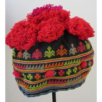 Yao Child's hat This childs hat is from the Yao hill tribe group in Laos  This  hat is made from cotton fabric finely embroidered in cross stich neatly stitched by hand  T. Please Click the image for more information.