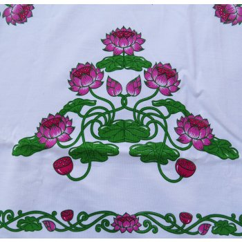 Lotus table cloth in pink and green - rectangular  Please Click the image for more information.
