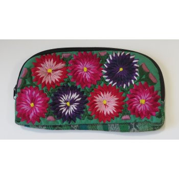 Mexican Flower bag This Mexican  bag has hand embroidered flowers on the front and the reverse is an ikat fabric with a lurex highlight. Please Click the image for more information.
