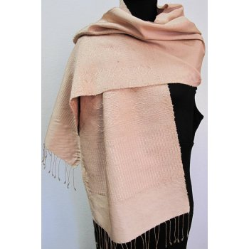 Dusky pink hand woven silk shawl Hand loomed silk shawl in the softest pink with geometric patterns in the same colour in a supplementary weft . Please Click the image for more information.