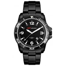 McQueen Sports - Black - Stainless Bands Three hand quartz movement with single date Beautifully crafted black plated solid stainless steel 10 ATM 100 meter water resistant 42mm case with rotating stainless steel bezel with aluminium plate Ma. Please Click the image for more information.