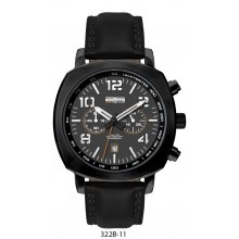 Genoa Sports Chronograph Black Three eye Chronograph with single date Beautifully crafted black plated solid stainless steel 10 ATM 100 meter water resistant 45mm case Ma. Please Click the image for more information.