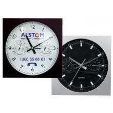 "Wall Clock 10""/250mm Sq Temp 255mm10 square wall clock with 3 hand movement and temperature and humidity dials Case in black or silver but other colours available Lo. Please Click the image for more information."