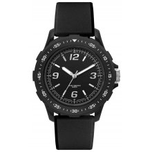 Exeter Black Resin 1 ATM 10 meter water resistant black case with coloured rotating bezel and black silicon rubber bands 4. Please Click the image for more information.