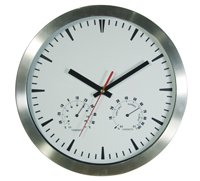 "Wall Clock Aluminium Temperature Round 10""/254mm 254mm10 round Brushed Aluminium cased wall clock with temperature and humidity dials and 3 hand movement C. Please Click the image for more information."