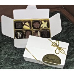 White gift box - 8 chocolates $17.50 Contains 8 chocolates of your choice see The Menu or a ready made assortment Please indicate your choice in the CARD MESSAGE box which is situated at Step 2 of the order process Eac. Please Click the image for more information.