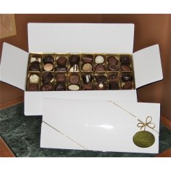 White gift box - 32 chocolates $62.50 Contains 32 chocolates of your choice see The Menu or a ready made assortment Please indicate your choice in the CARD MESSAGE box which is situated at Step 2 of the order process Eac. Please Click the image for more information.