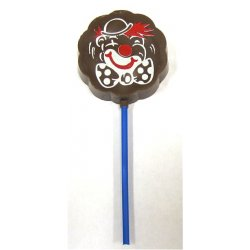 Lollipop milk chocolate - Clown $4.00 Solid milk chocolate with edible colour print Please Click the image for more information.