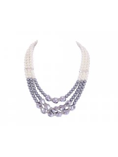 10646 3 Row Cream  Grey Pearl Necklace Please Click the image for more information.