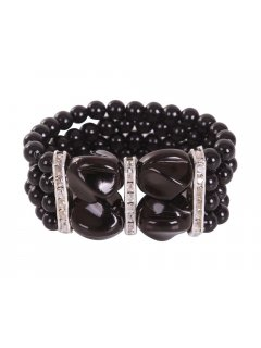 B0197 This 3 Row Stretch Bracelet is available in Cream Black or Grey Pearls Please Click the image for more information.
