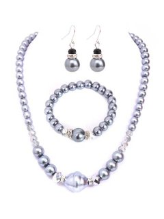10651C PEARL NECKLACE EARRING AND NECKLACE SET AVAILABLE IN GREY CREAM BLACK OR CHAMPAGNE Please Click the image for more information.