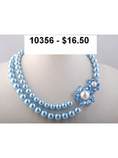 10356C BLUE PEARL NECKLACE WITH FLOWER OFF CENTRE ALSO AVAILABLE IN BLACK CREAM OR LILAC Please Click the image for more information.