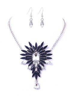 10663 MOONSHINE BEAD  CRYSTAL NECKLACE SET AVAILABLE IN BLUE BURGUNDY PURPLE OR ORANGE Please Click the image for more information.