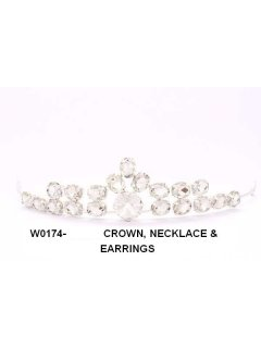 W0174 Crystal Crown Necklace  Earring Set Please Click the image for more information.