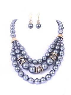 10672C GIGI PEARL NECKLACE  EARRING SET  AVAILABLE IN GREY BLACK CREAM OR CHAMPAGNE Please Click the image for more information.