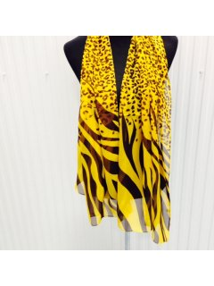 SS160 SCARF  YELLOW BROWN ANIMAL PRINT Please Click the image for more information.