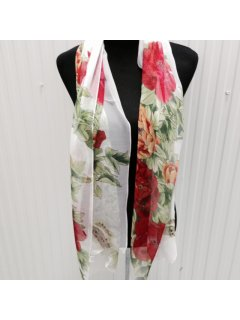 SS169 FLORAL SCARF WITH WHITE BACKGROUNDALSO AVAILABLE IN PINK OR BLUE Please Click the image for more information.