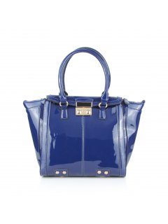 H0633 BLUE PATENT LEATHER HANDBAG Please Click the image for more information.