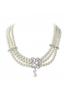 10720 CREAM TRIPLE STRAND PEARL CHOKER WITH DIAMONTE DROP FEATURE  MATCHING EARRING Please Click the image for more information.