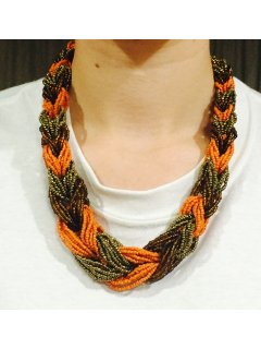10738C ORANGE BROWN  GOLD BEADED INTERLOCK NECKLACE Please Click the image for more information.