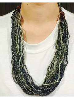 10739A BLACK  GREY BEADED NECKLACE Please Click the image for more information.