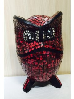 GW062 RED MOSAIC OWL  20CM Please Click the image for more information.