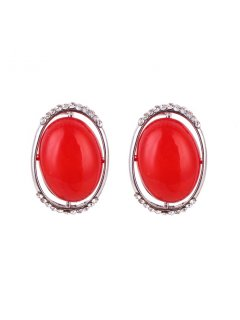 E0642 RED CLIP ON EARRINGS Please Click the image for more information.