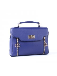 H0706B BLUE MIDSIZE HANDBAG WITH DOUBLE ZIP FEATURE Please Click the image for more information.