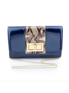 H0731C BLUE PATENT EVENING BAG WITH ANIMAL PRINT INSERT Please Click the image for more information.