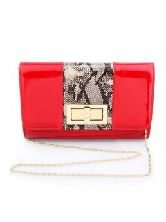 H0731B RED PATENT EVENING BAG WITH ANIMAL PRINT INSERT Please Click the image for more information.