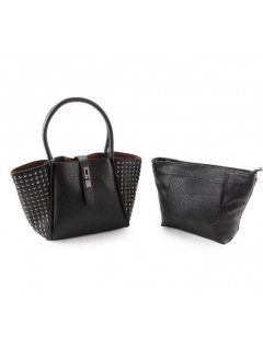 H0749 BLACK STUDDED HANDBAG WITH BONUS STACHEL INSIDE Please Click the image for more information.