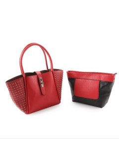 H0749A RED STUDDED HANDBAG WITH BONUS SATCHEL INSIDE Please Click the image for more information.