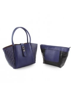 H0749C BLUE STUDDED HANDBAG  WITH BONUS SATCHEL Please Click the image for more information.