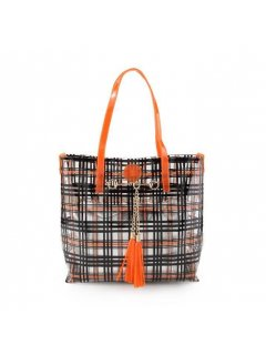 H0751 ORANGE  BLACK TOTE WITH SILVER SATCHEL Please Click the image for more information.