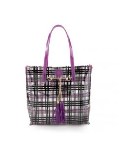 H0751B PURPLE  BLACK TOTE  BONUS SILVER SATCHEL Please Click the image for more information.