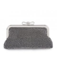 H0754A BLACK DIAMONTE EVENING BAG WITH BOW CLASP Please Click the image for more information.