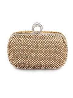 H0755B GOLD DOUBLE SIDED EVENING BAG ONE SIDE IS FULLY BEADEDONE SIDE HAS DIAMONTES Please Click the image for more information.