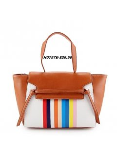 H0757E TAN HANDBAG WITH RAINBOW FRONT PANEL Please Click the image for more information.