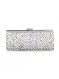 H0771 SILVER EVENING BAG WITH PEARL CHROME PANEL Please Click the image for more information.