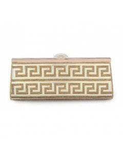 H0772A GOLD EVENING BAG WITH CHROME PANEL FRONT Please Click the image for more information.