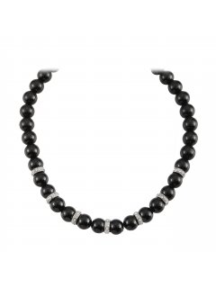 10803A BLACK PEARL NECKLACE WITH DIAMONTE RONDELS AND MAGNETIC CLASPALSO AVAILABLE IN MOCHA OR CREAM Please Click the image for more information.