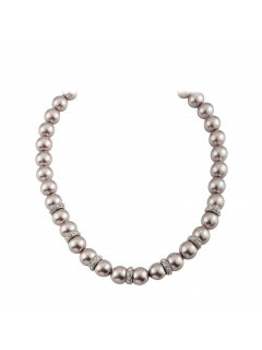 10803B MOCHA PEARL NECKLACE WITH DIAMONTE RONDELS AND MAGNETIC CLASPALSO AVAILABLE IN CREAM OR BLACK Please Click the image for more information.
