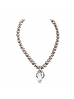10807B MOCHA PEARL NECKLACE WITH DIAMONTE DROP Please Click the image for more information.